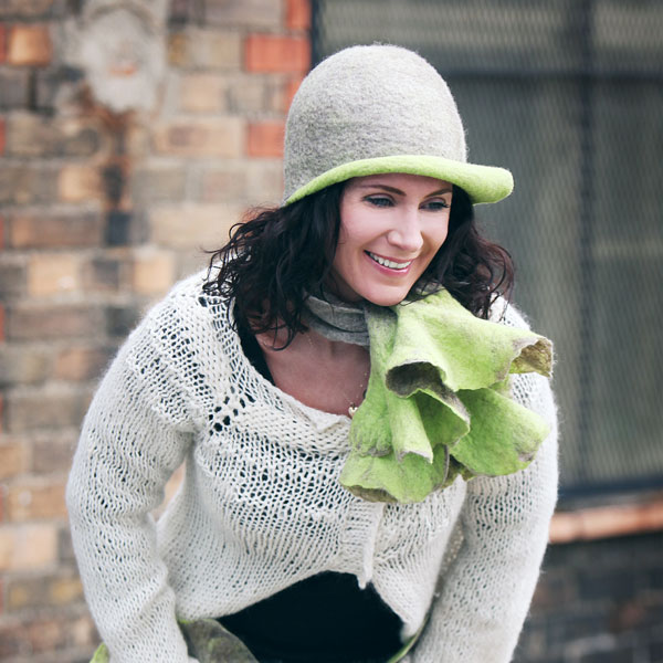 Oatmeal And Lime Swirl Hat, Handmade In Ireland From Superfine Merino Wool And Silk