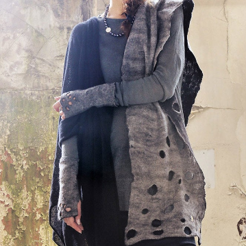 Black & Grey Felted Scarf Made in Ireland from Superfine Merino and local luxury wool
