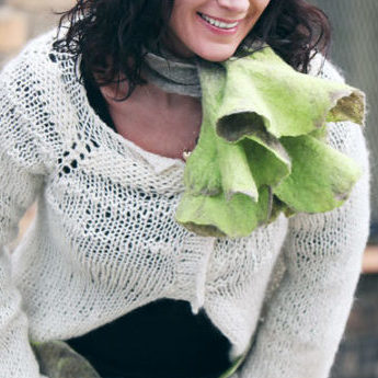Luxury Oatmeal and Lime Cravat Winter Scarf from Eco Wool and Silk