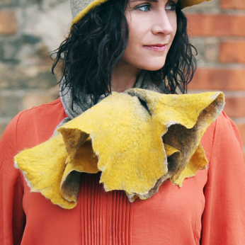 Luxury Mustard and Oatmeal Cravat Winter Scarf. from Eco Wool and Silk
