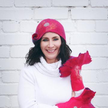 Purple and Raspberry Swirl Hat, Handmade in Ireland from Superfine Merino Wool and Silk