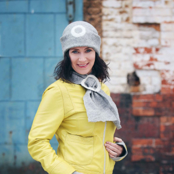 Felt Hat Handmade Grey- One Hat- undyed wool wet felted unisex hat. Handmade in Ireland from Superfine Merino Wool with One Circle Detail.