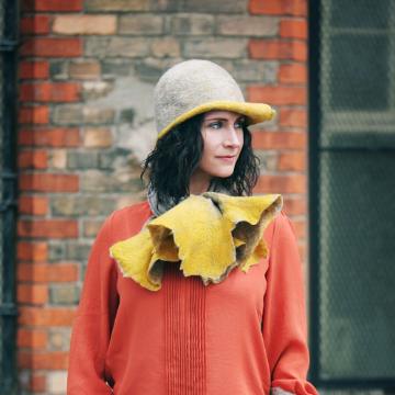 Oatmeal and Mustard Swirl Hat, Handmade in Ireland from Superfine Merino Wool and Silk