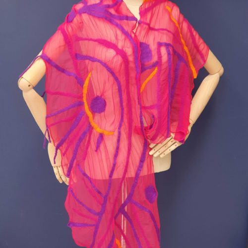 Hot Pink and Plum Sandmarks Scarf