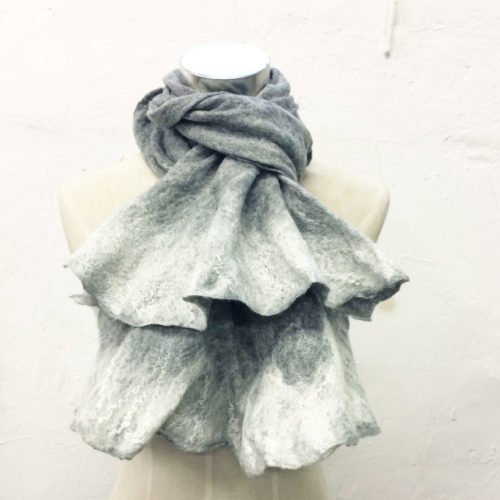 Felt Hat Handmade Grey- Cravat Scarf – undyed wool wet felted. Handmade in Ireland from Superfine Merino Wool